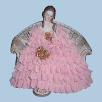 Lovely German Dresden Lace Figurine Mueller