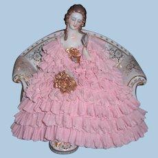 Lovely German Dresden Lace Figurine Mueller