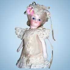 "Darling 4 1/4"" French Mignonette Antique Doll"