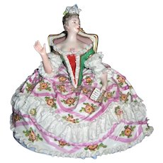 Elegant French Dresden Lace Figurine - Rare - Seated Royalty - Layaway