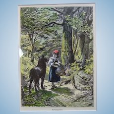 "13"" German Framed Etched Print of Little Red Riding Hood in the woods"