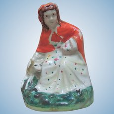 "5"" Antique Porcelain Figurine of Little Red Riding Hood with the Wolf"