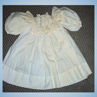"""Antique Doll Dress - Cream Cotton with Puffy Sleeves 17 1/4"""""""