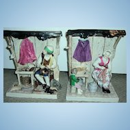 Large Pair of Antique Figurines - Shoemakers Shop!