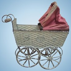 Circa 1900 Painted Tin Carriage w/Original Pink fabric hood and turning wheels - layaway