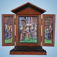 Antique French  Limoges Enamel Triptych, 19th Century