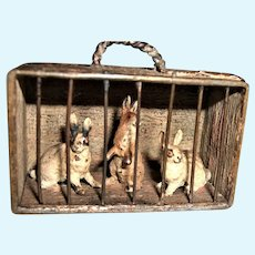 Darling Miniature Vintage Viennese Bronze Box of Three Rabbits