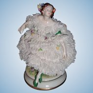 "Large 8"" Volkstedt Dresden Figurine - White Lace - Layaway"