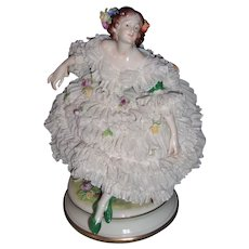 """Large 8"""" Volkstedt Dresden Figurine - White Lace - Layaway"""