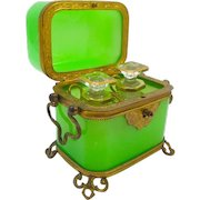 Antique Baccarat French Green Opaline Glass 'Vert Feuille' Perfume Casket