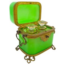 Antique Baccarat French Green Opaline Glass 'Vert Feuille' Perfume Casket