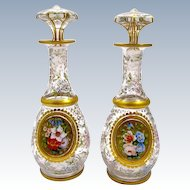 Pair of Antique Bohemian Glass Overlay Perfume Bottles