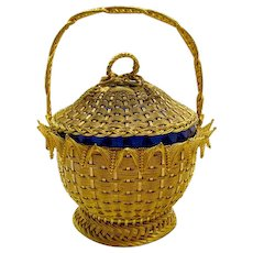 Unusual Dore Bronze and Cobalt Blue Glass Basket with a Beautiful Lid and Rope Handle.
