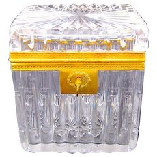 Antique BACCARAT Charles X Highly Cut Crystal Casket Box with Elegant Ridges Adorning the Body