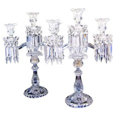 Tall Pair of Antique Cut Crystal SIGNED BACCARAT Candelabra