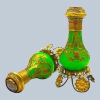 Pair of Antique Palais Royal Green Opaline Perfume Bottles, Each with Eglomise Miniature of Paris.