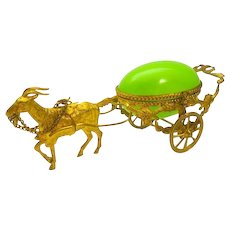 Antique Palais Royal Opaline Glass Egg Carriage