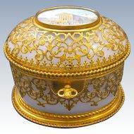Stunning Antique Palais Royal Opaline Casket Box and Key