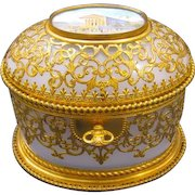 Stunning Antique Palais Royal Opaline Casket Box and Key