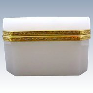 Antique French White Opaline Rectangular Glass Casket Box with Beautiful Dore Bronze Mounts.