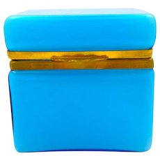 Antique Italian Murano Blue Opaline Overlay Glass Casket Box