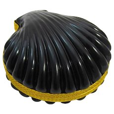 Antique French Rare Black Opaline Shell Shape Hinged Box
