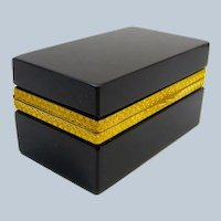 Antique Italian Murano Black Opaline Glass Rectangular Casket Box