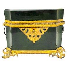 Rare Antique MOSER Bohemian 19th Century Lithyalin Glass Casket Box with Fabulous Dore Bronze Mounts