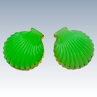 Pair of Antique French Green Opaline Glass Scallop Shell Shape Hinged Boxes
