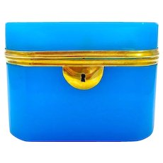 Large Antique French 19th Century Blue Opaline Glass Casket
