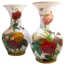 Huge Pair of BACCARAT Opaline Vases by Jean Francoise Robert with Hand Painted Flowers