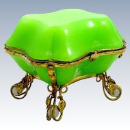 Unique Antique French Green Opaline Overlay Glass Casket