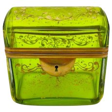 Antique Bohemian MOSER Lime Green Enamelled Casket Box with a Domed Lid.
