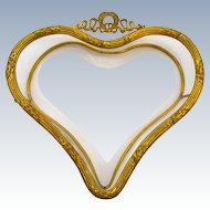 Antique Napoleon III Dore Bronze and Crystal Hear Shaped Dish.