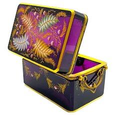 Antique Moser Amethyst Enamelled Glass Double Handle Casket Box.