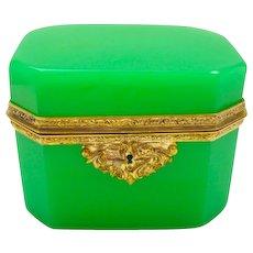 High Quality French GreenOpaline Rectangular Glass Casket Box with Beautiful Dore Bronze Mounts.