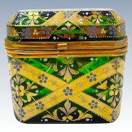 Stunning Antique MOSER Glass Casket with Typical Moser Hand Painted Design.