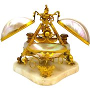 A Rare HUGE Antique Palais Royal Mother of Pearl and Opaline Perfume Set.