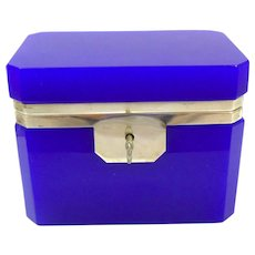 Unusual Vintage Lapis Blue Italian Murano Casket Box with Smooth Dore Bronze Mounts and Key.