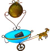 Antique Blue Opaline Glass and Dore Bronze Goat and Cart Thimble and Watch Holder.
