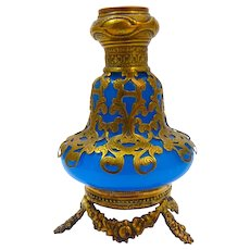 Palais Royal 19th Century Blue Opaline Glass Perfume Bottle with Miniature of Sacre Coeur Paris.