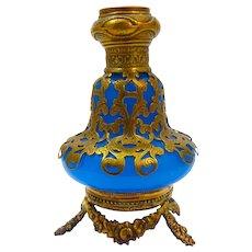 Palais Royal 19th Century Blue Opaline Glass Perfume Bottle with Miniature of Sacre Coeur Paris.