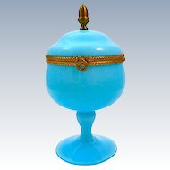 Antique French Light Blue Opaline Glass Hinged Box with  Pedestal Base and Fancy Gilt Mounts.