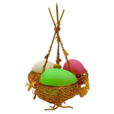 Super Palais Royal Triple Opaline Glass Egg Wigwam Box