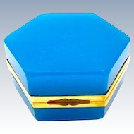 Antique French 19th Century Blue Opaline Hexagonal Casket Box with Lift Clasp.