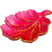 Large Antique French Cranberry Glass Leaf Dish Highlighted in Gold.