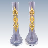 Pair of Tall Antique Empire Crystal and Dore Bronze Vases Depicting Classical Motifs