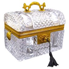 Antique BACCARAT Rectangular Highly Cut Crystal Casket with Dore Bronze Mounts and Domed Lid.