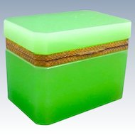 Antique Green Opaline Glass Rectangular Casket Box with Ornate Dore Bronze Mounts and Lift Clasp.