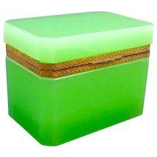 Antique Green Opaline Glass Rectangular Casket Box with Bronze Mounts